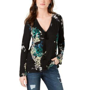 Tops - Style & Co. Womens Floral Print Tassel Top